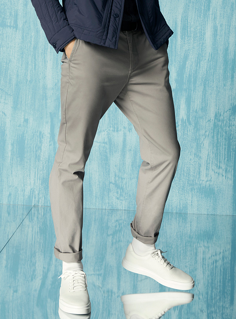 Le 31 Grey Stretch organic cotton chinos  Stockholm fit-Slim for men