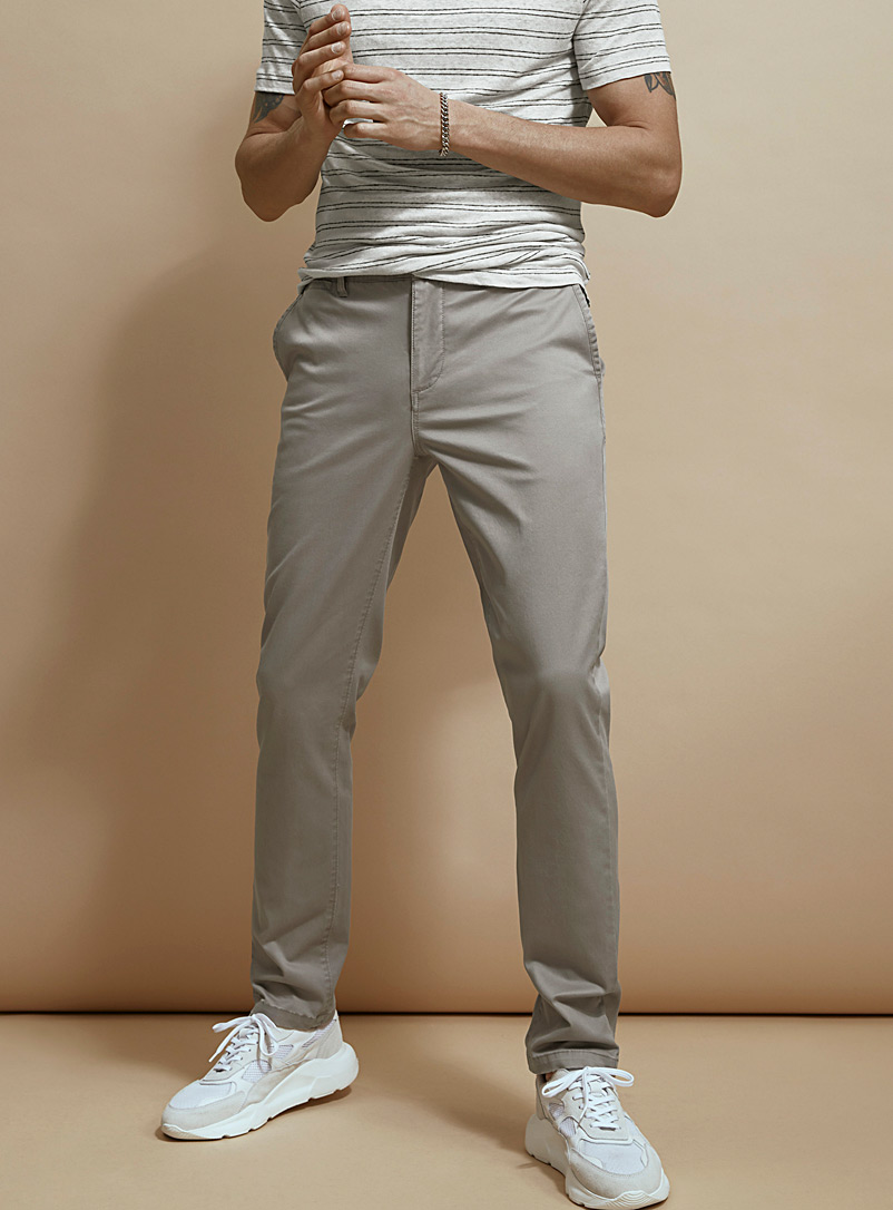 Le 31 Dark Grey Stretch organic cotton chinos  Stockholm fit-Slim for men