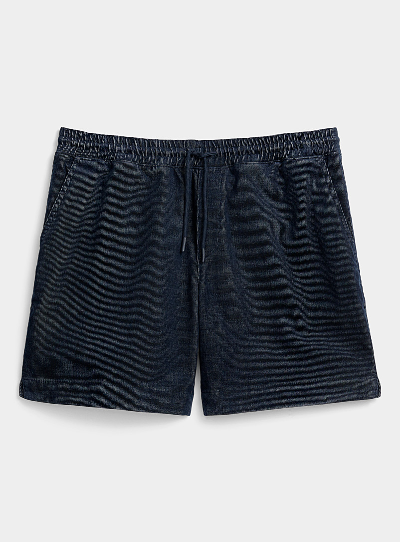 Djab Marine Blue Eco-friendly corduroy pull-on short for men