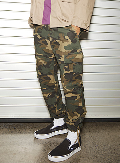 Djab Patterned Green Organic cotton camo utility joggers for men