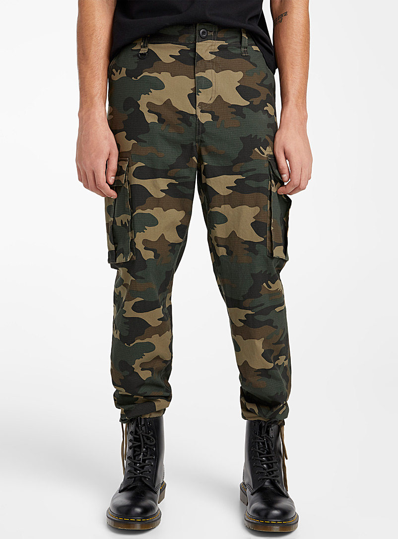 Djab Patterned Green Ripstop utility joggers for men