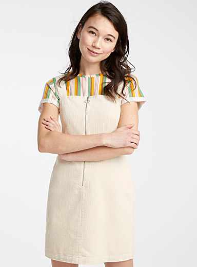 Corduroy zip dress