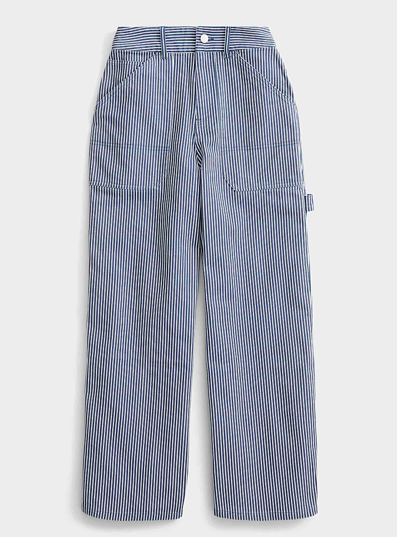 Twik Patterned Blue Organic cotton striped worker jean for women
