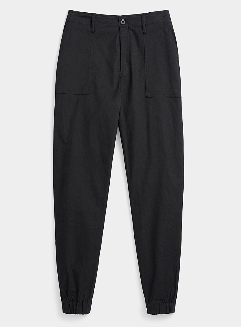 Twik Black Organic cotton carpenter joggers for women