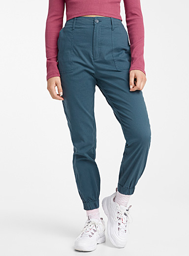 Twik Dark Blue Organic cotton carpenter joggers for women