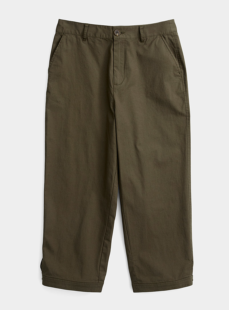 Contemporaine Khaki Lightweight organic cotton capris for women