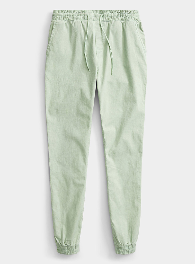 Twik Lime Green Organic cotton canvas joggers for women