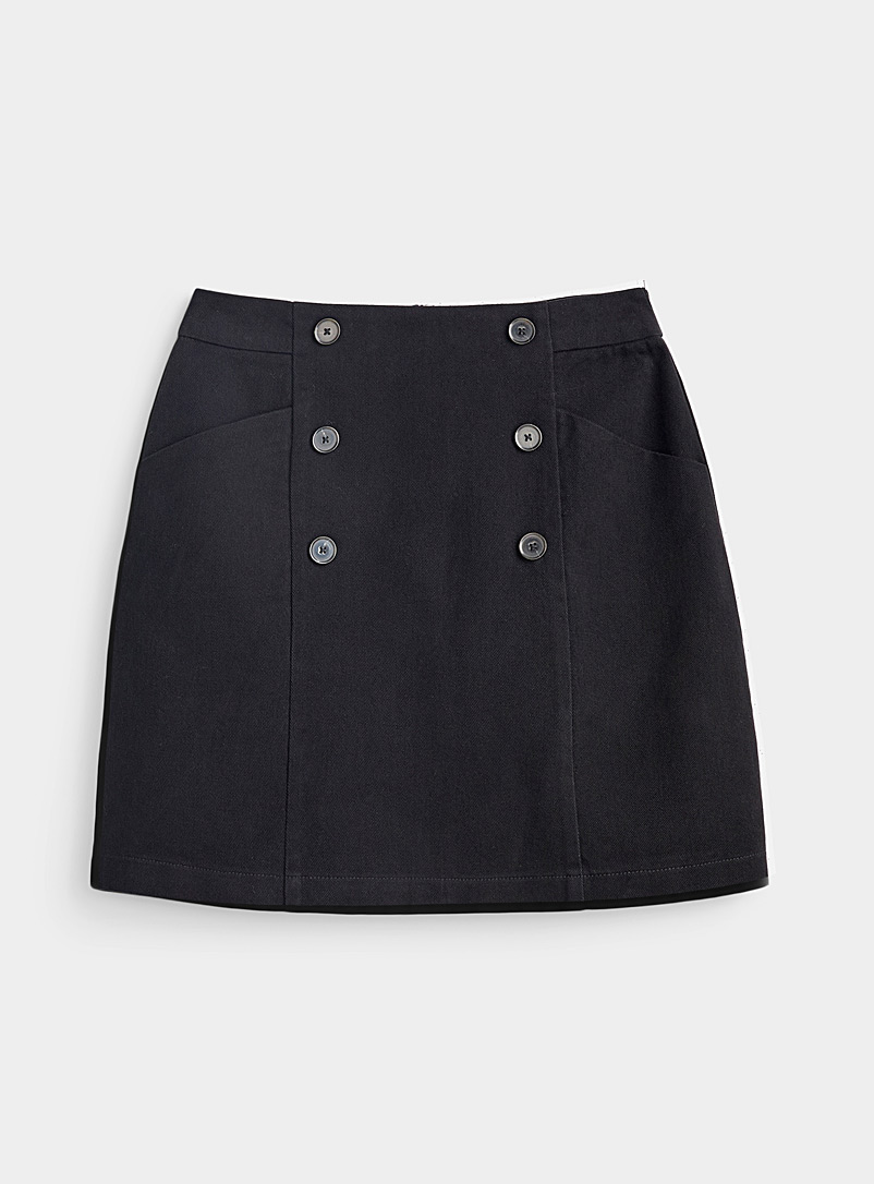Organic cotton double-button skirt