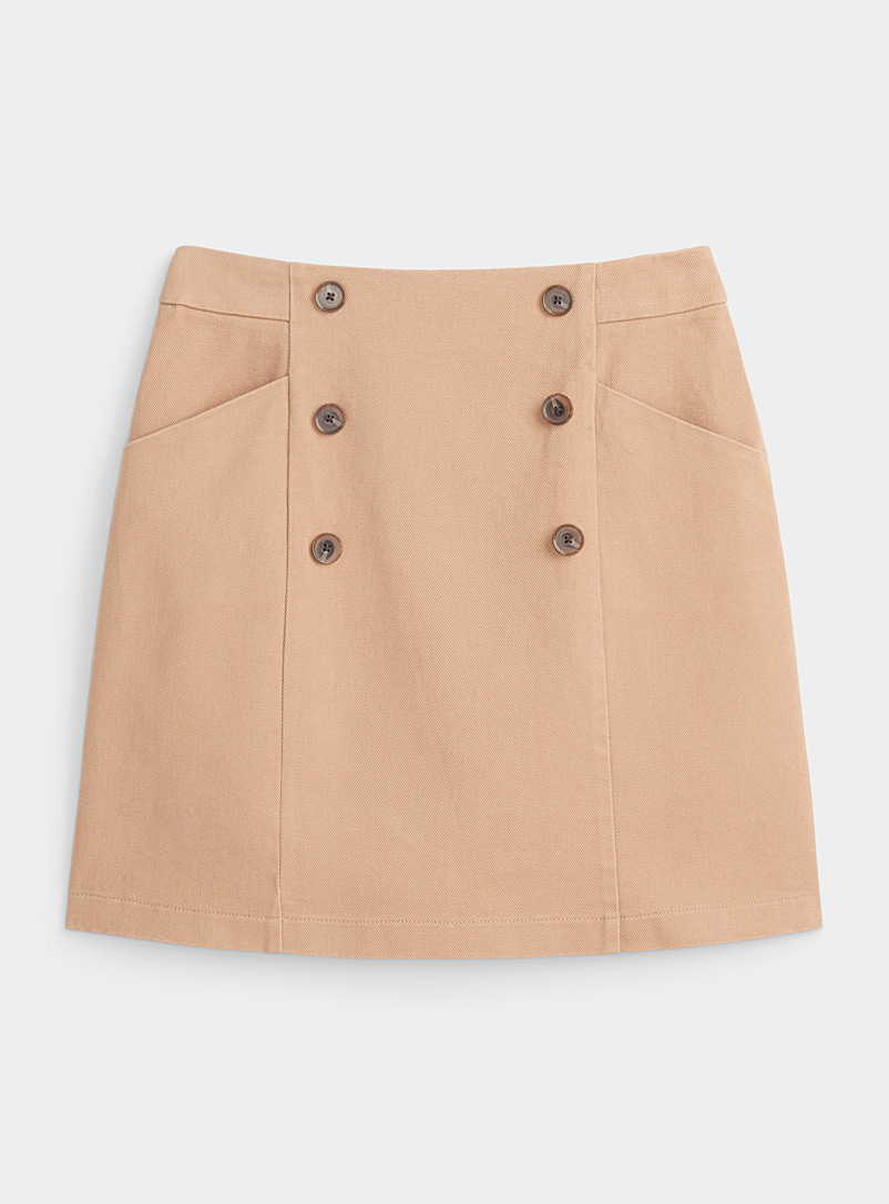 Twik Tan Organic cotton double-button skirt for women