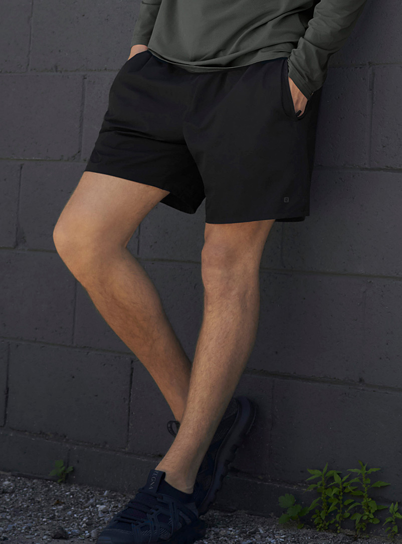 I.FIV5 Black Monochrome stretch short for men
