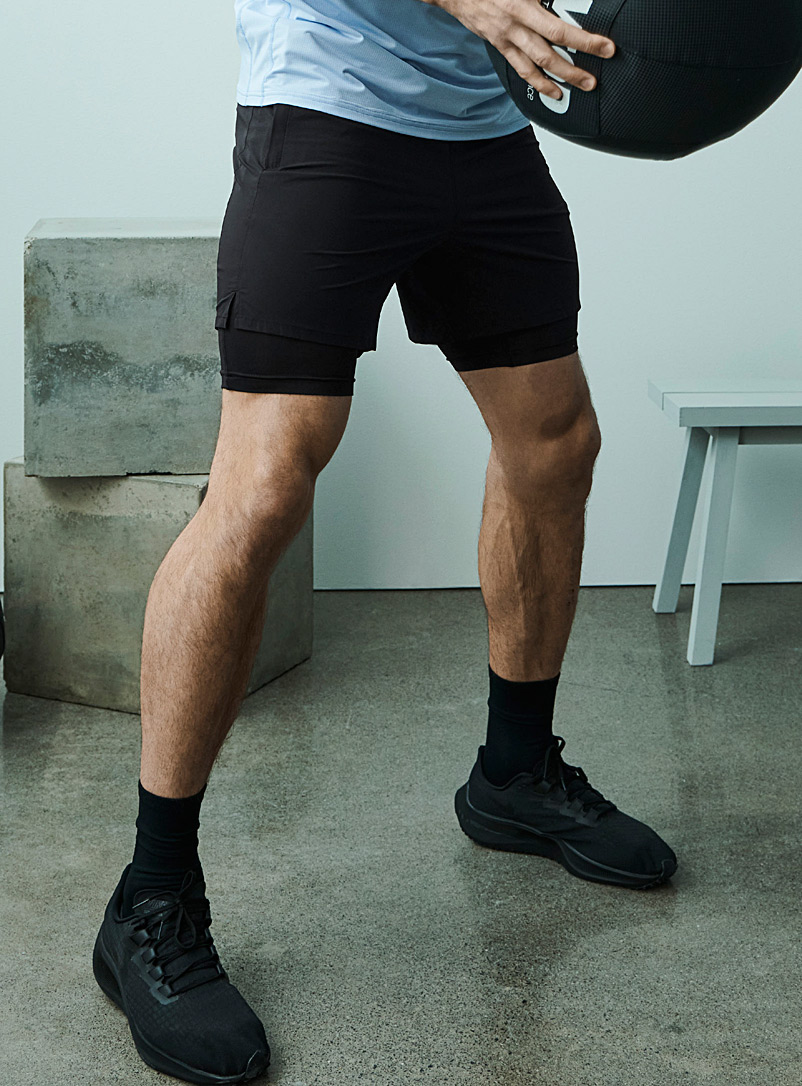 I.FIV5 Black 2-in-1 running short for men