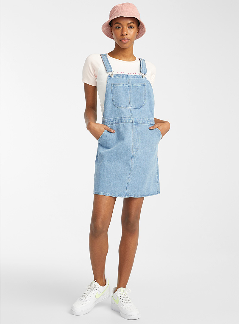Twik Baby Blue Organic cotton denim apron dress for women