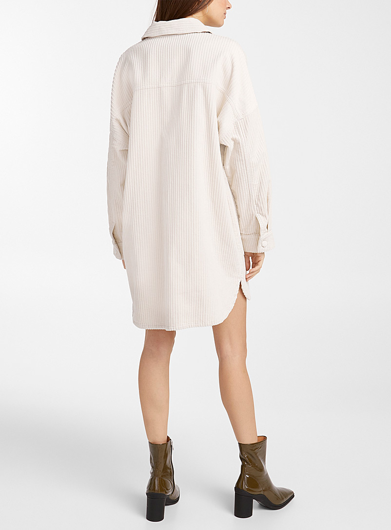 Icône Ivory White Oversized corduroy shirtdress for women