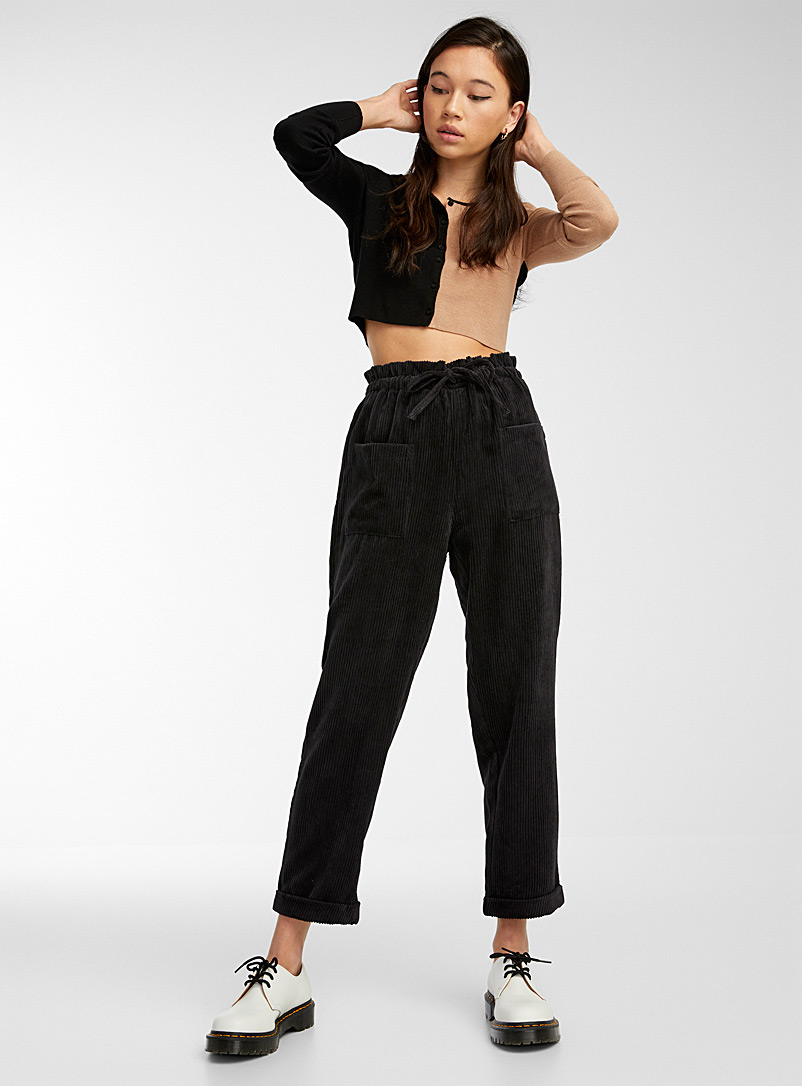 Twik Black Recycled polyester corduroy pant for women