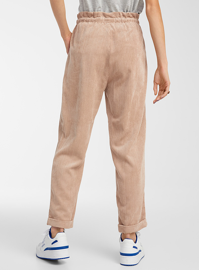 Twik Sand Recycled polyester corduroy pant for women