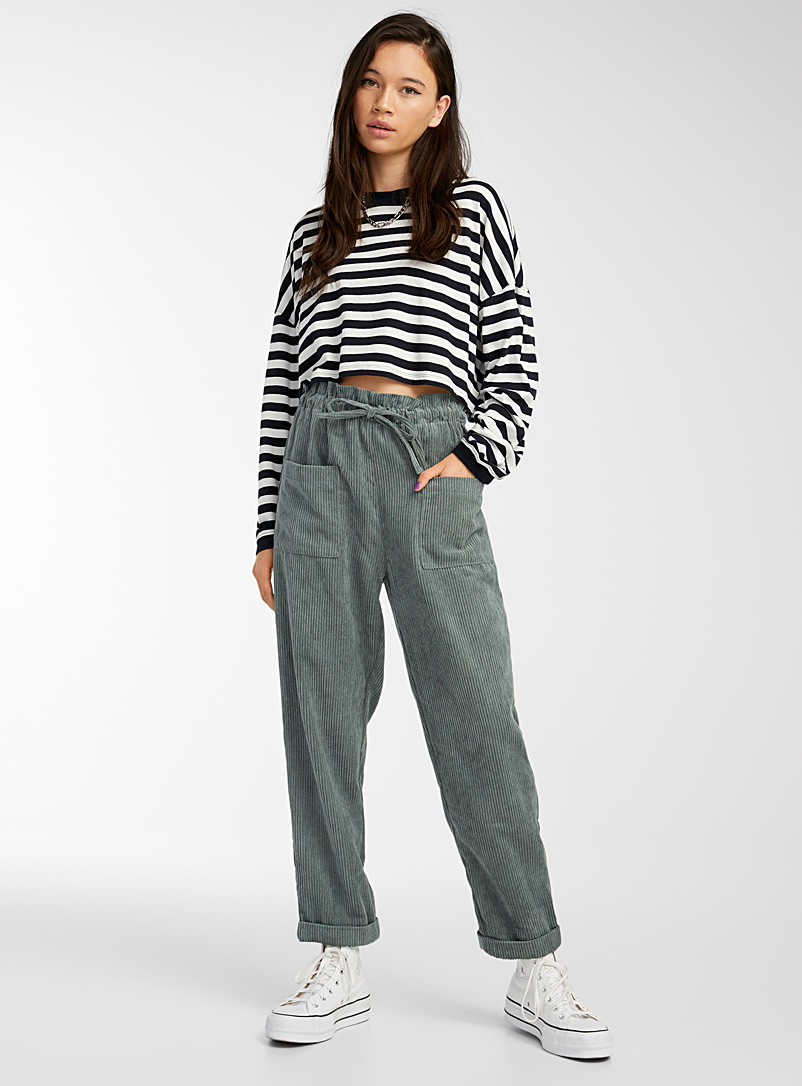 Twik Kelly Green Recycled polyester corduroy pant for women