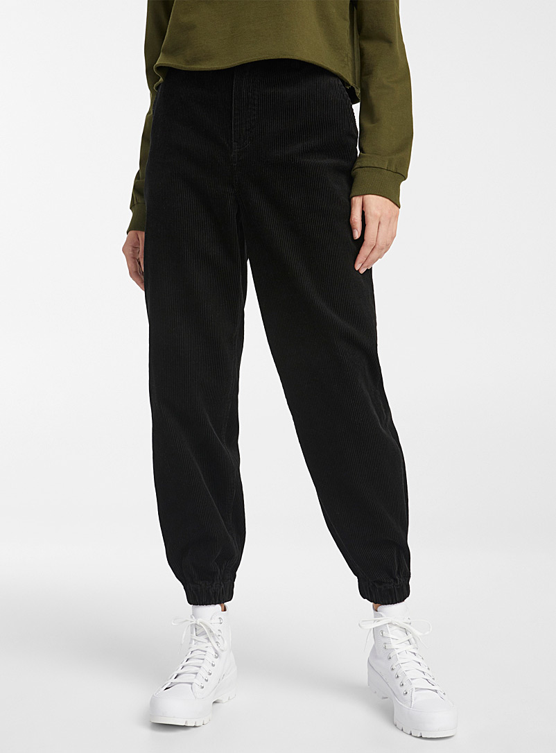 Twik Black Eco-friendly corduroy balloon joggers for women