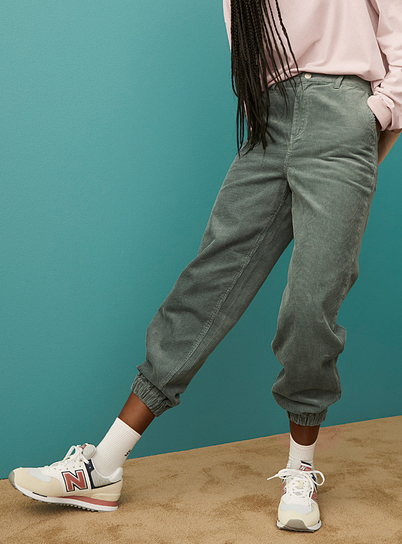 Twik Lime Green Eco-friendly corduroy balloon joggers for women