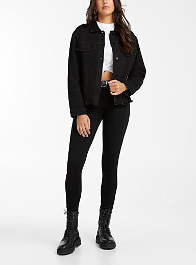 Black cut-trim jean jacket