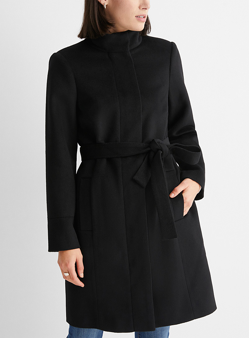Contemporaine Black Belted recycled wool coat for women