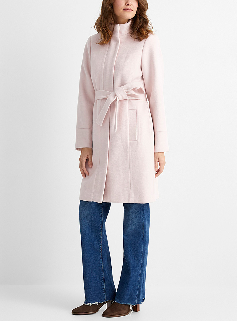 Belted recycled wool coat