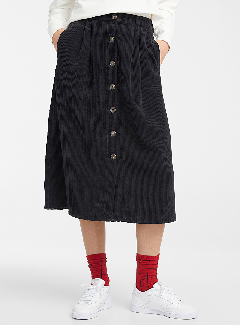 Twik Black Buttoned corduroy skirt for women