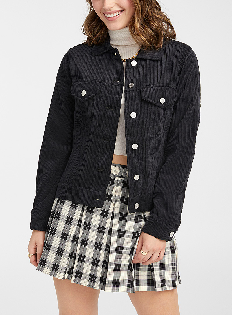 Twik Black Recycled polyester corduroy jacket for women
