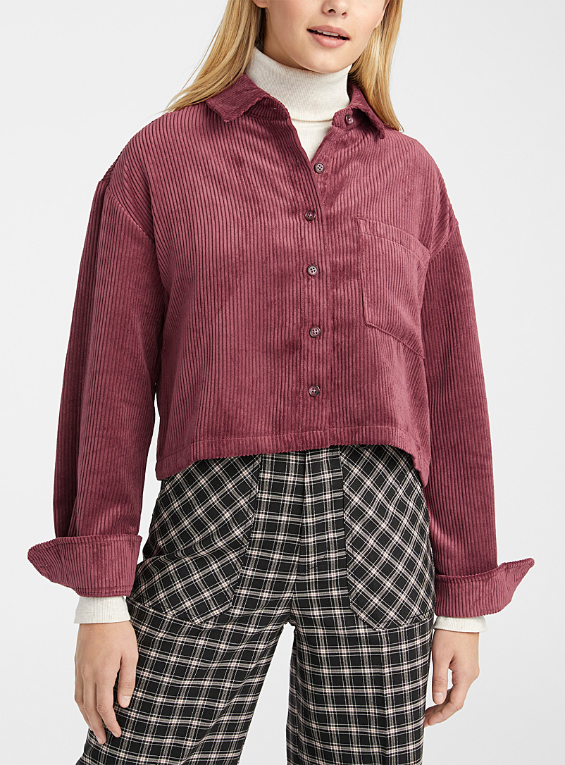 Twik Ruby Red Cropped eco-friendly corduroy shirt for women