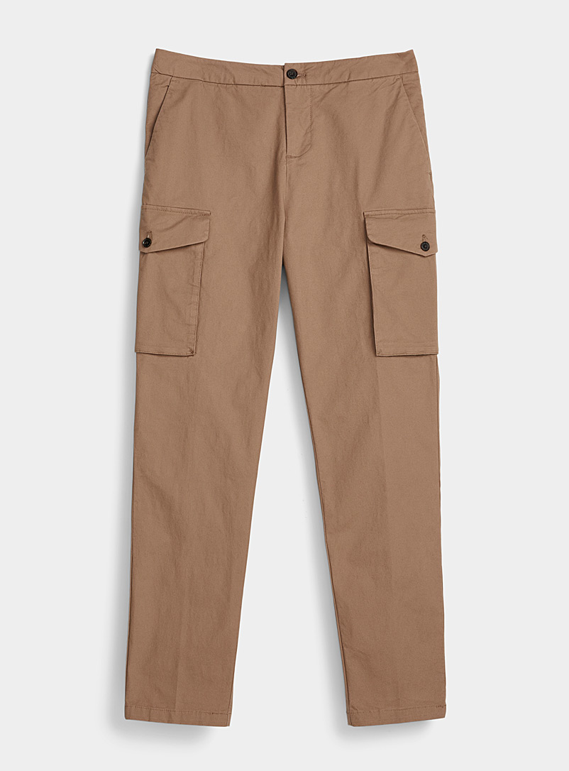 Le 31 Sand Military cargo pant  Straight, slim fit for men
