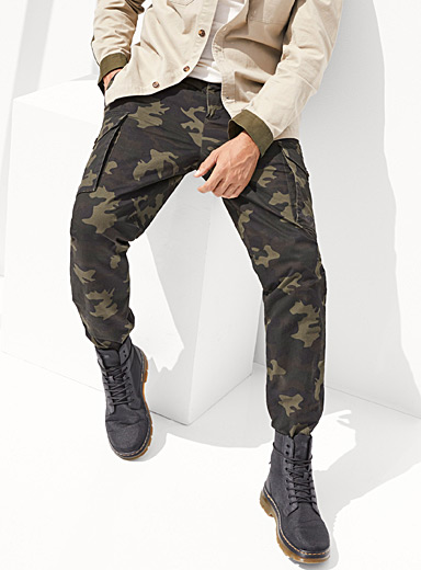 Le 31 Patterned Green Military cargo pant  Straight, slim fit for men
