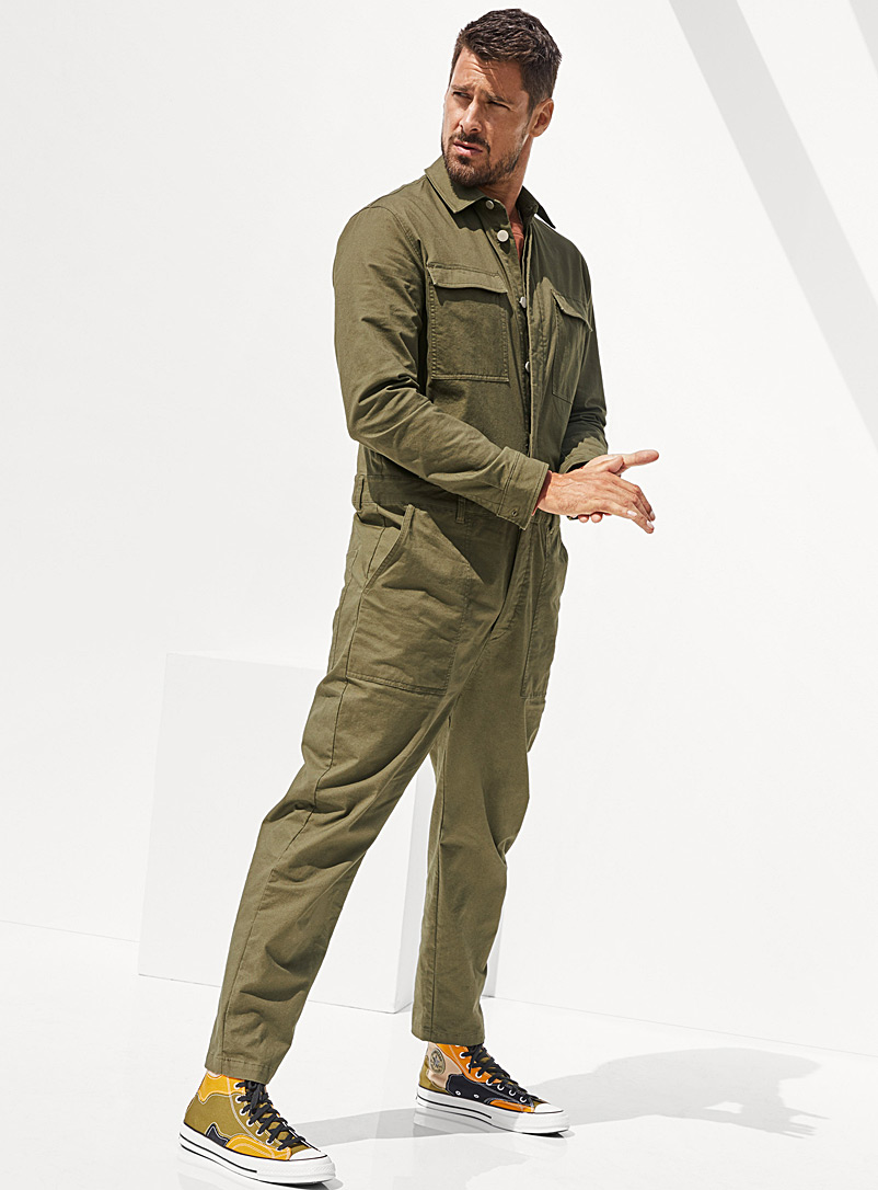 Le 31 Mossy Green Military jumpsuit for men