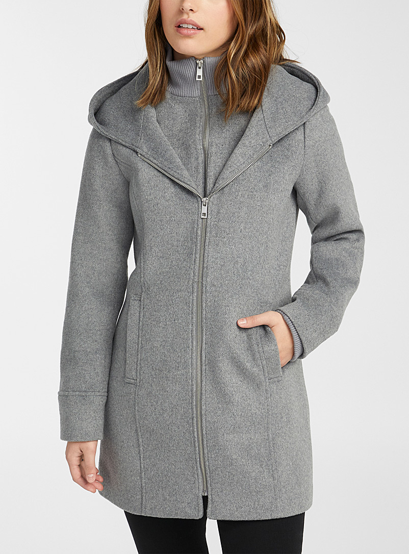 Twik Light Grey Eco-friendly double-collar brushed wool coat for women