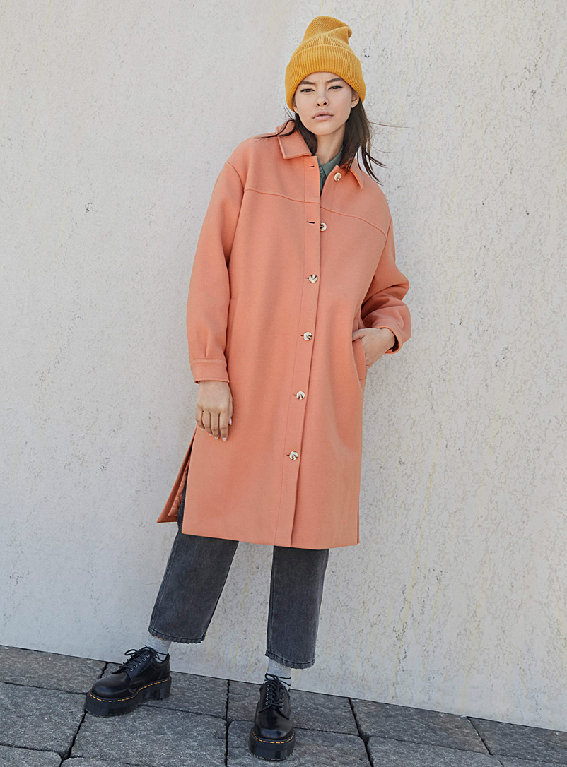 Twik Pink Long minimalist button-up coat for women