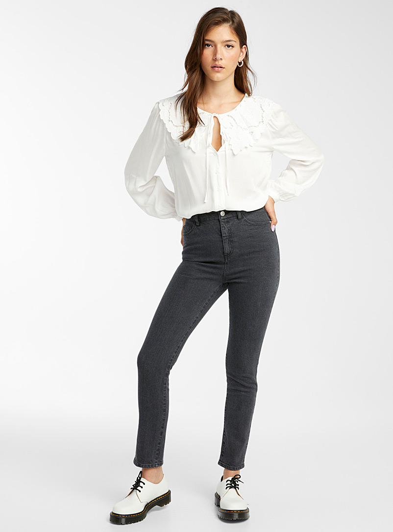 Twik Oxford Striped black slim jean  Pop fit for women