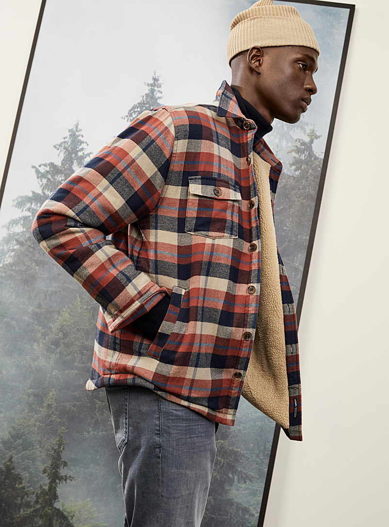 Sherpa-lined flannel overshirt  Comfort fit