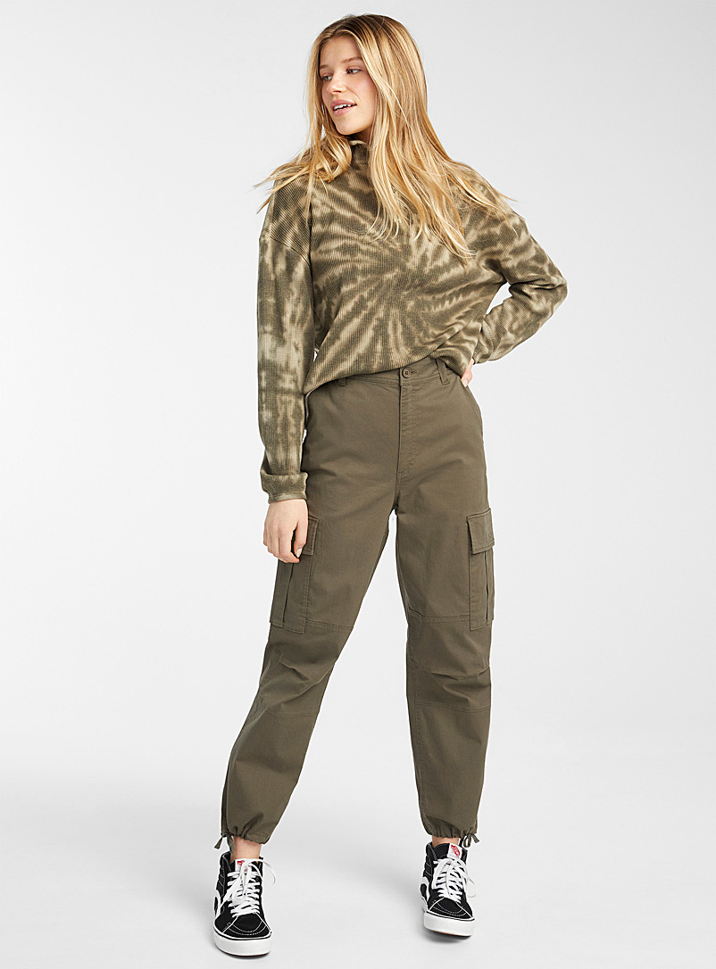 Twik Khaki Organic cotton loose cargo joggers for women