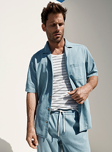 Lightweight denim fluid shirt Comfort fit