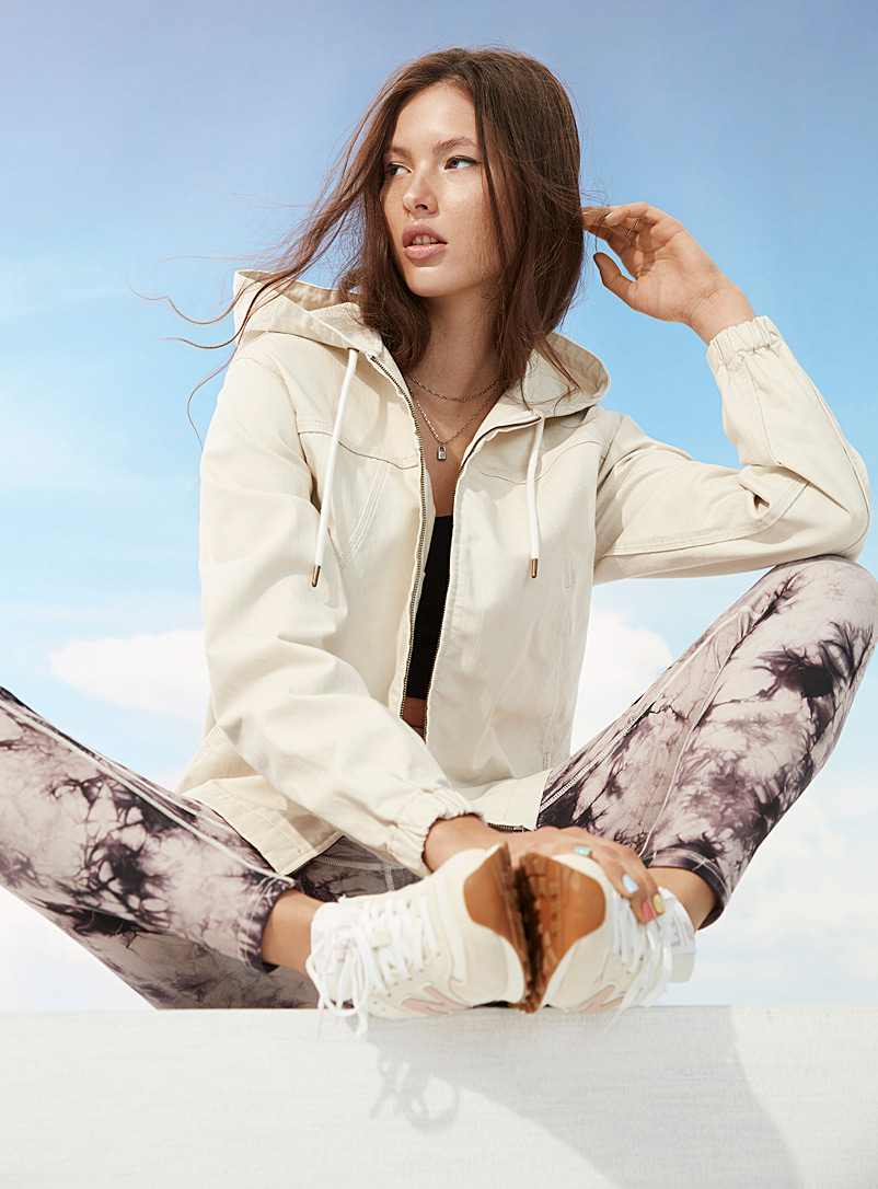 Twik Cream Beige 100% denim hooded bomber jacket for women