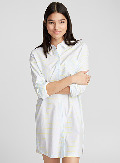 Two-tone stripe nightshirt
