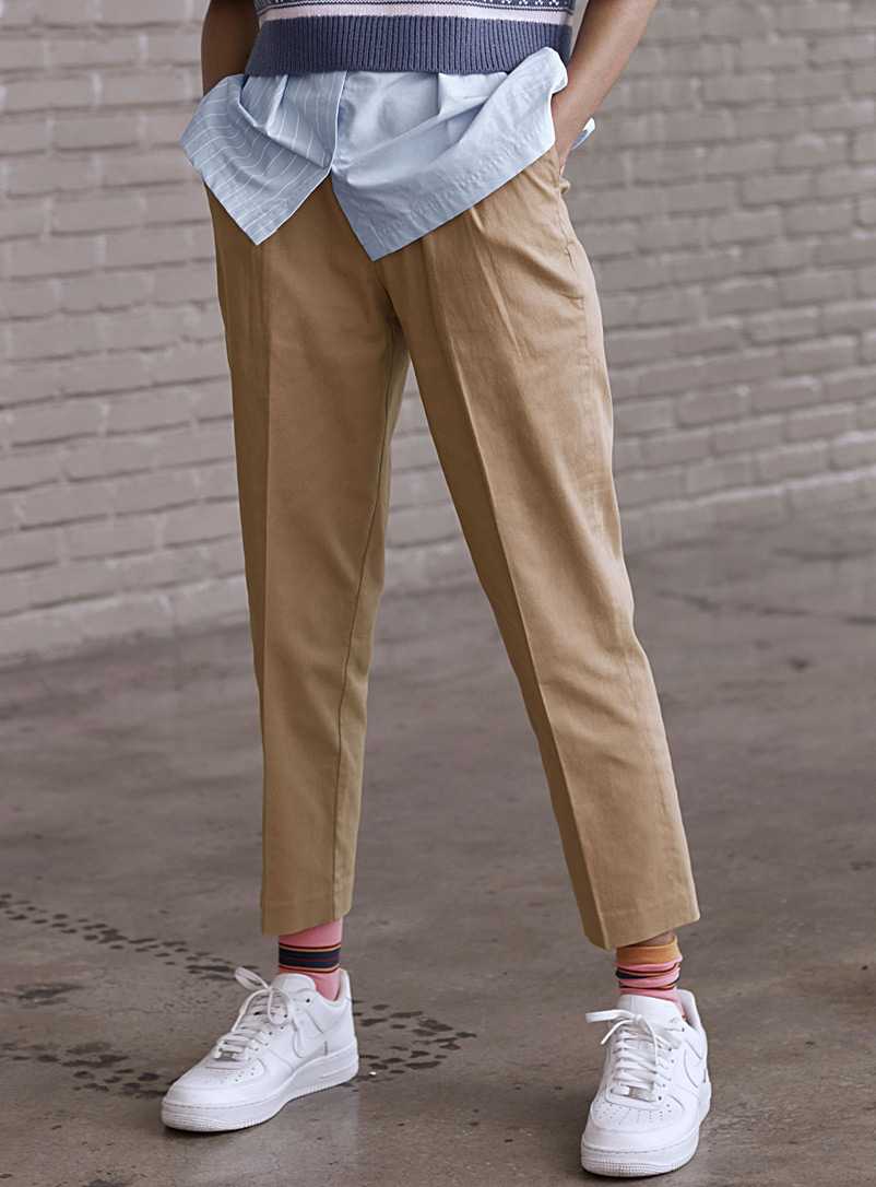 Accent-pleat chinos - Semi-Slim - Cream Beige