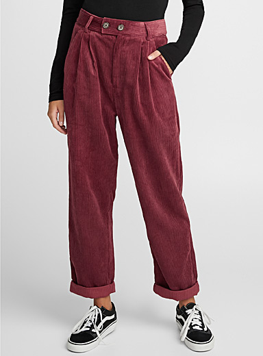 Pleated corduroy pant