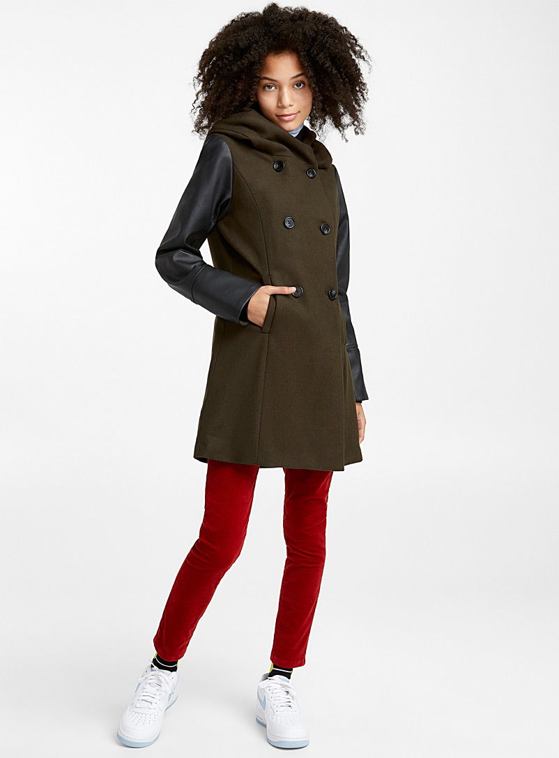 Faux-leather sleeve recycled wool coat - Wool - Mossy Green
