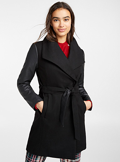 Faux-leather sleeve recycled wool coat