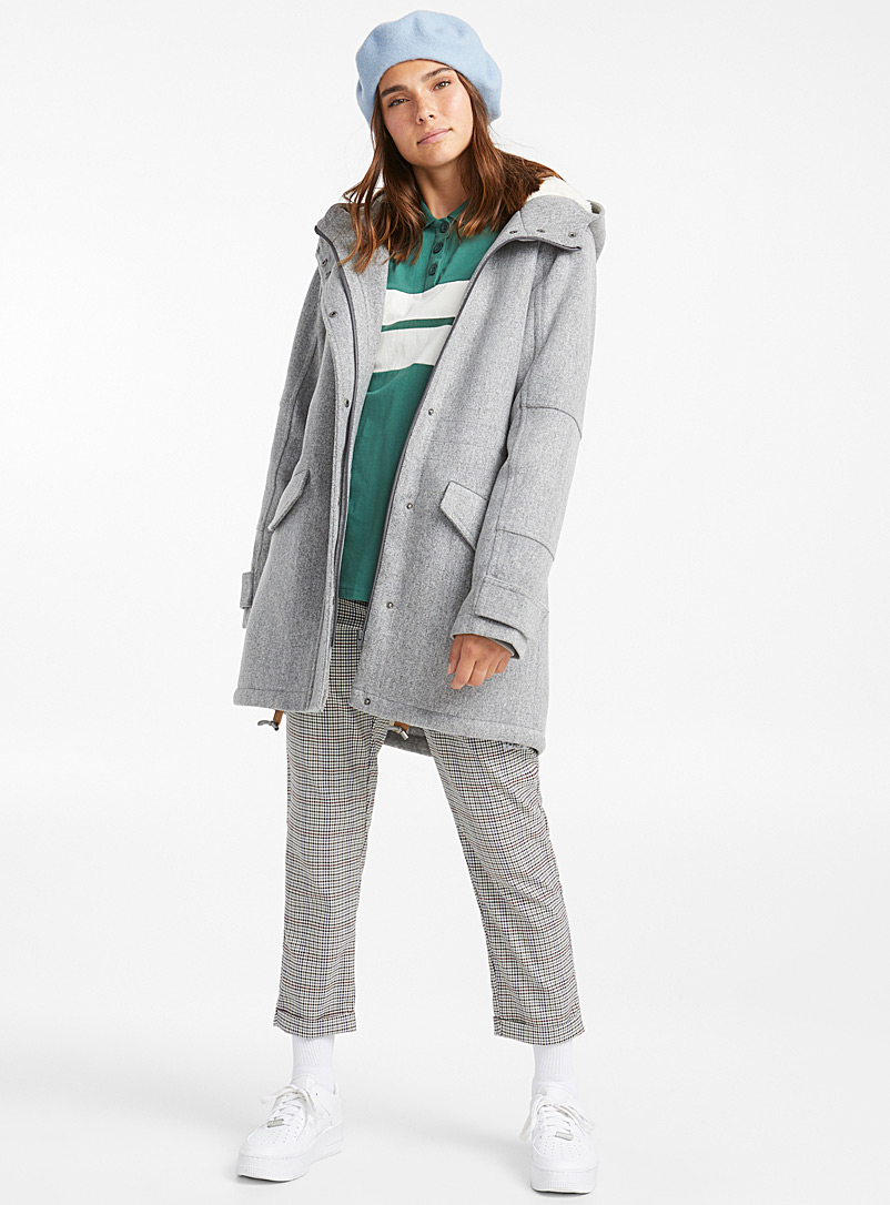 Sherpa-lined wool coat - Anoraks and Parkas - Grey