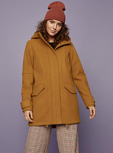Sherpa-lined wool coat
