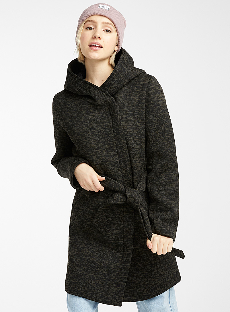 Twik Black Heathered belted coat for women