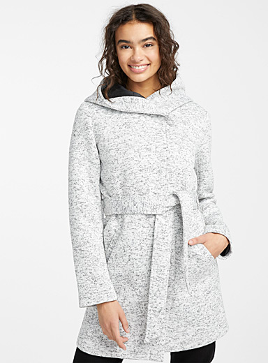 Twik Patterned White Heathered belted coat for women