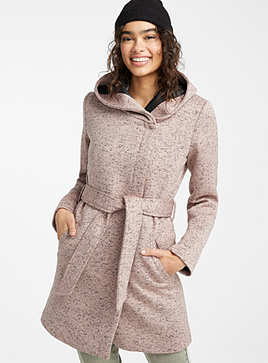 Twik Light pink Heathered belted coat for women