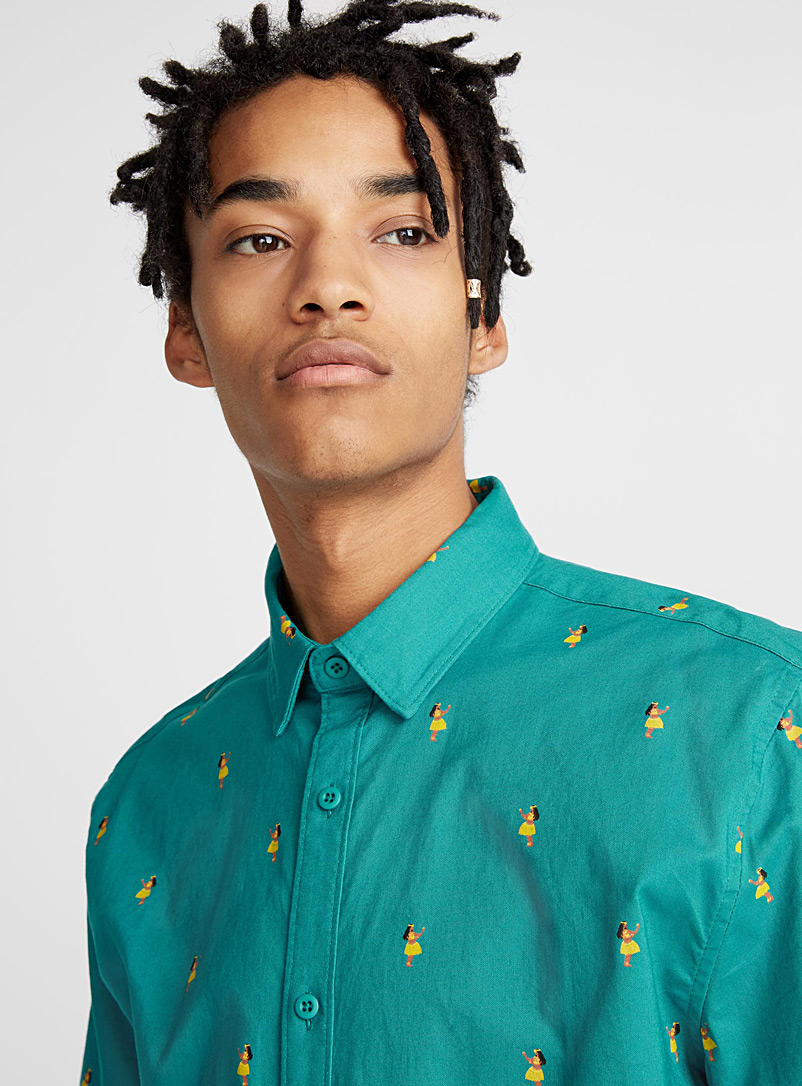 Patterned shirt - Short sleeves - Teal