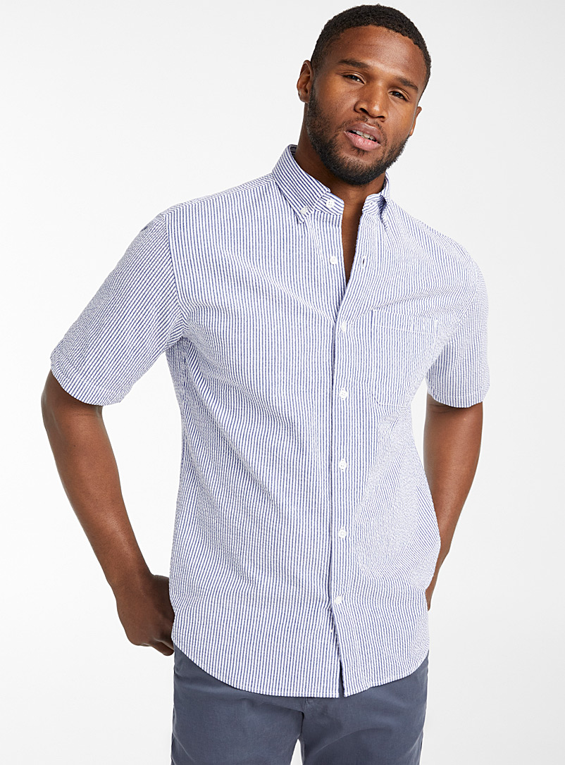 Le 31 White Seersucker short-sleeve shirt  Modern fit for men